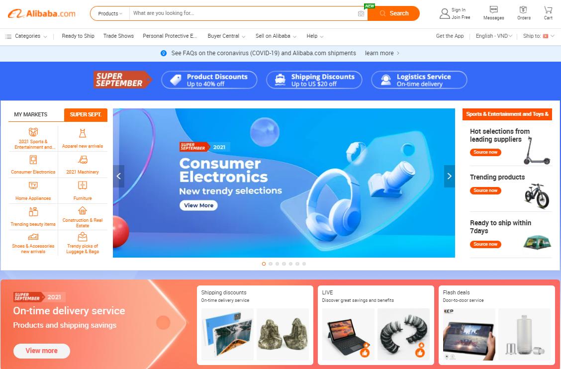 Trang web Alibaba